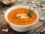 Рецепта Крем супа от горски гъби (замразени) с бял боб (зрял фасул) от консерва